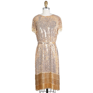1960s Sequin and Beaded Fringe Shift Dress