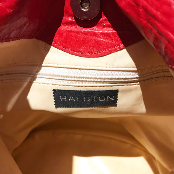 Halston Red Leather Bucket Tote Bag Circa 1975