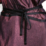 Burgundy Lurex Dress with Plunging Back