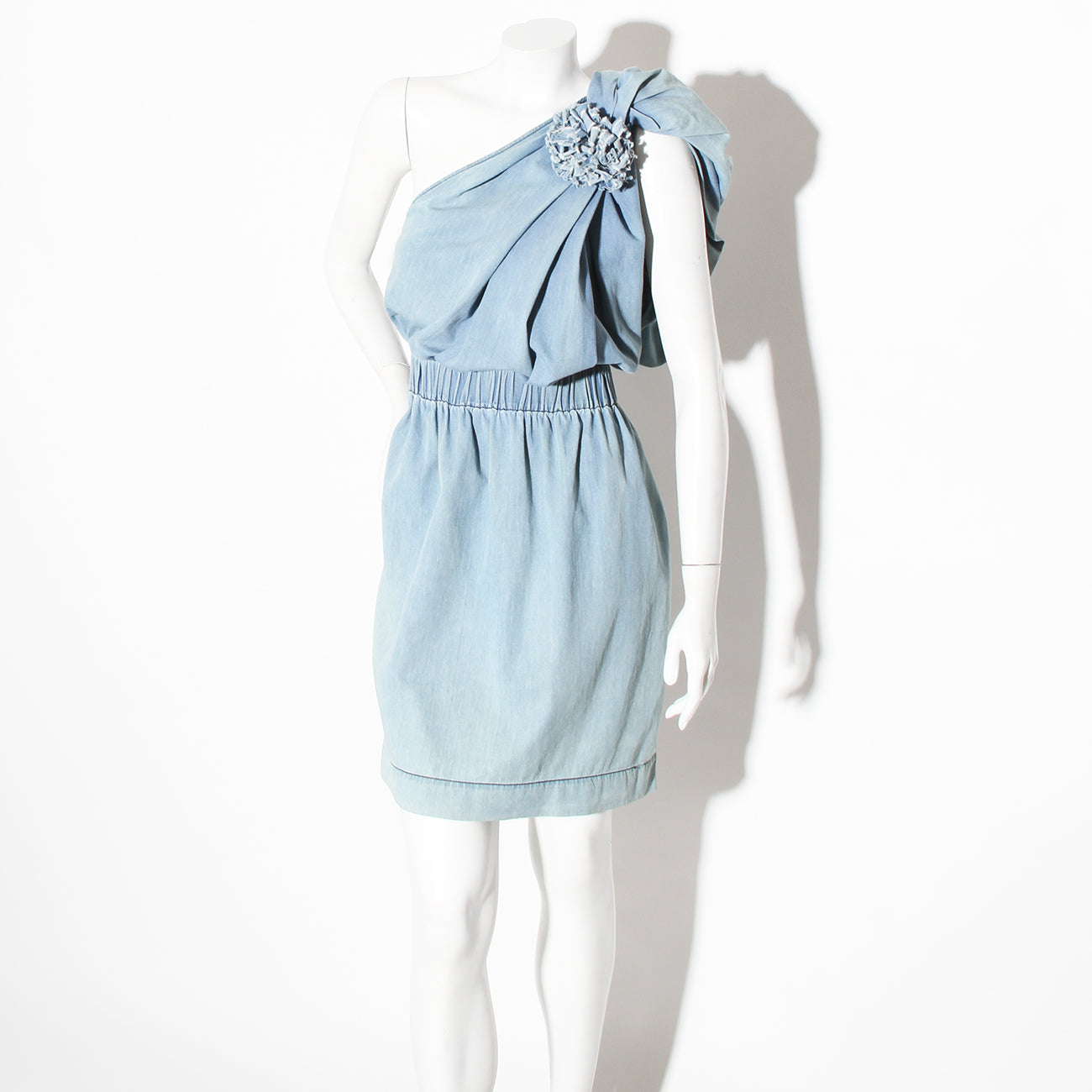 Lanvin One Shoulder Denim Dress