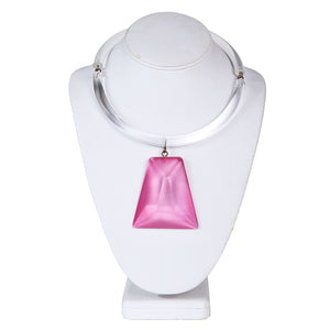 Lucite Necklace In Clear and Pink