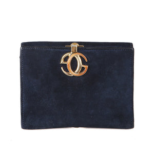 Vintage Navy Suede Wallet with Gold Hardware