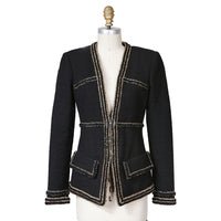 Woven Jacket with Gold Trim and Clear Buttons