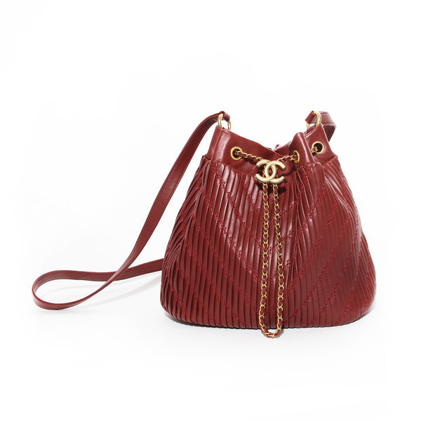 Chanel Coco Pleats Drawstring Bucket Bag
