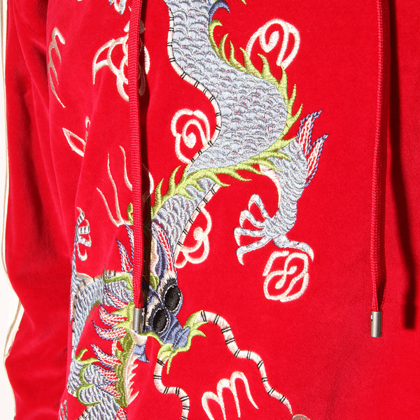Gucci Dragon Applique Velvet Hoodie