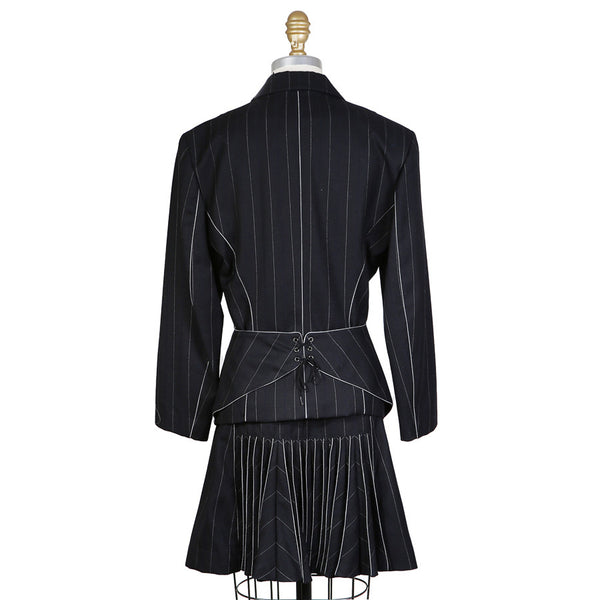 Navy Blue Pinstripe Skirt Suit with Piping, Lacing, and Pleating