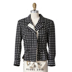 Polka Dot Jacket with Peplum and Draped Straps