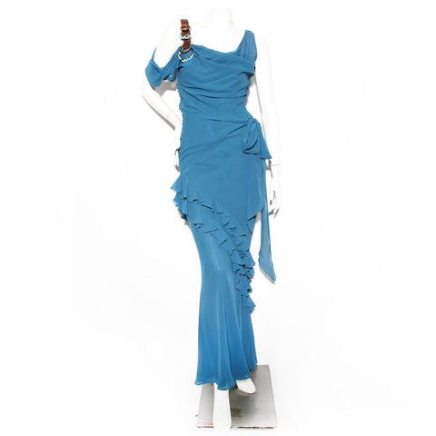 John Galliano Teal Silk Gown