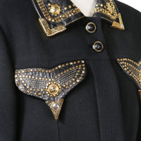 Vintage Jacket with Embellished Pockets and Collar, early 1990s