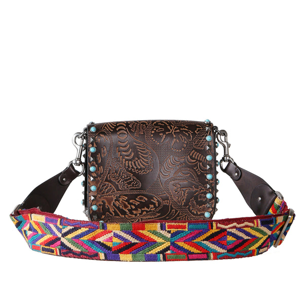 Tooled Leather Rockstud Bag with Colorful Woven Guitar Strap