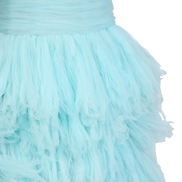 Strapless Gown of Tiered Aqua Tulle
