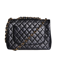 Quilted Black Leather Jumbo Flap Bag, 1996-1997
