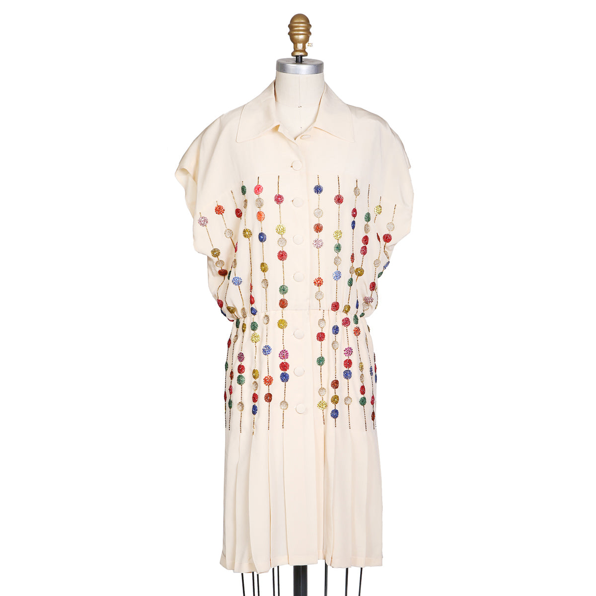Vintage Cream Silk Dress with Beading and Pleating by Karl Lagerfeld