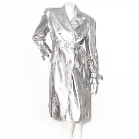 Hermès Silver Leather Trench Coat