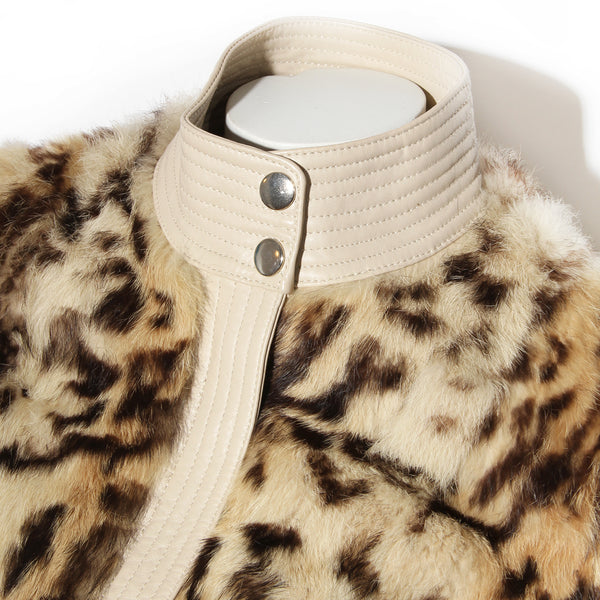 Balmain Leopard Print Fur with Leather Detail Moto Jacket