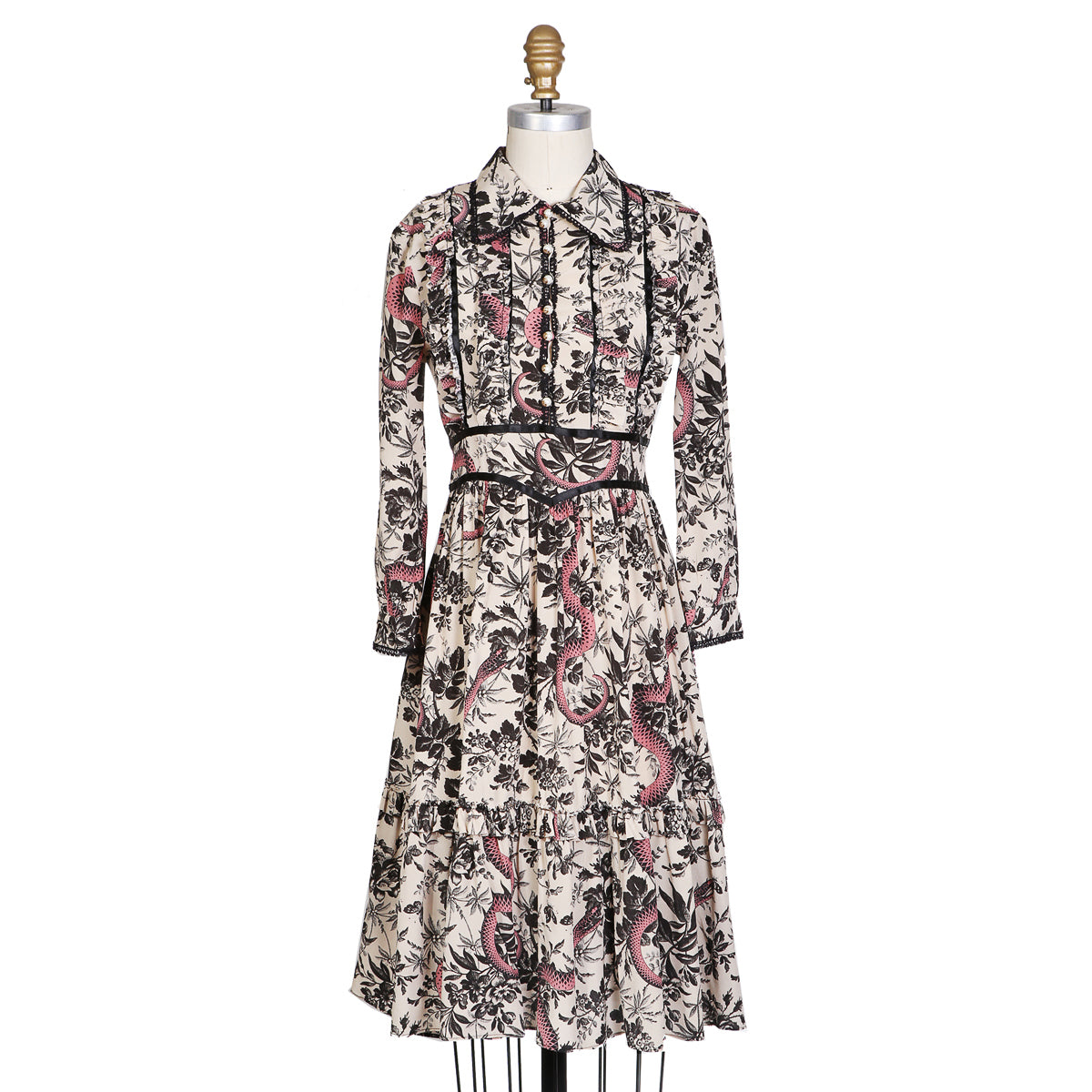 Printed and Pleated Silk Shirt Dress