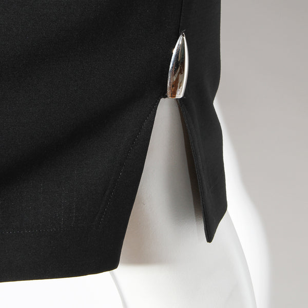 "Thierry Mugler Black Dress with Silver ""Bullet"" Details"