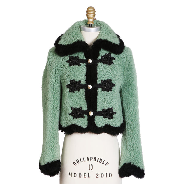 Mint Green Cropped Shearling Jacket