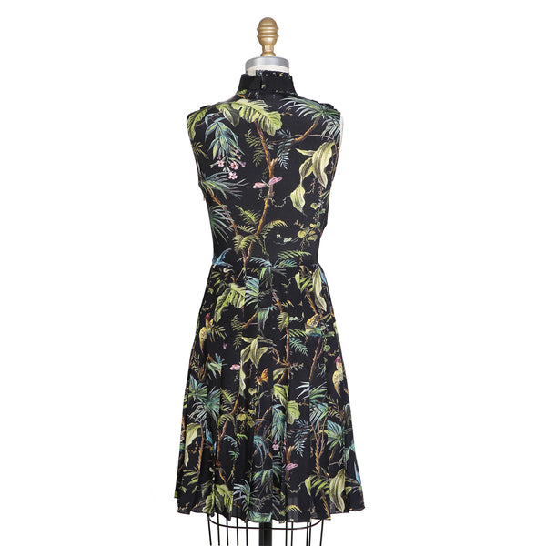 Sleeveless Shirt Dress with Jungle Birds Print
