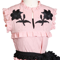 Moire Pink Silk with Black Embroidered Flowers