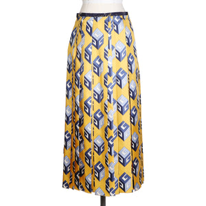 Geometric Print Pleated Silk Skirt