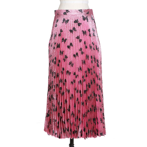 Pleated Lurex Skirt with Bow Print in Pink and Black