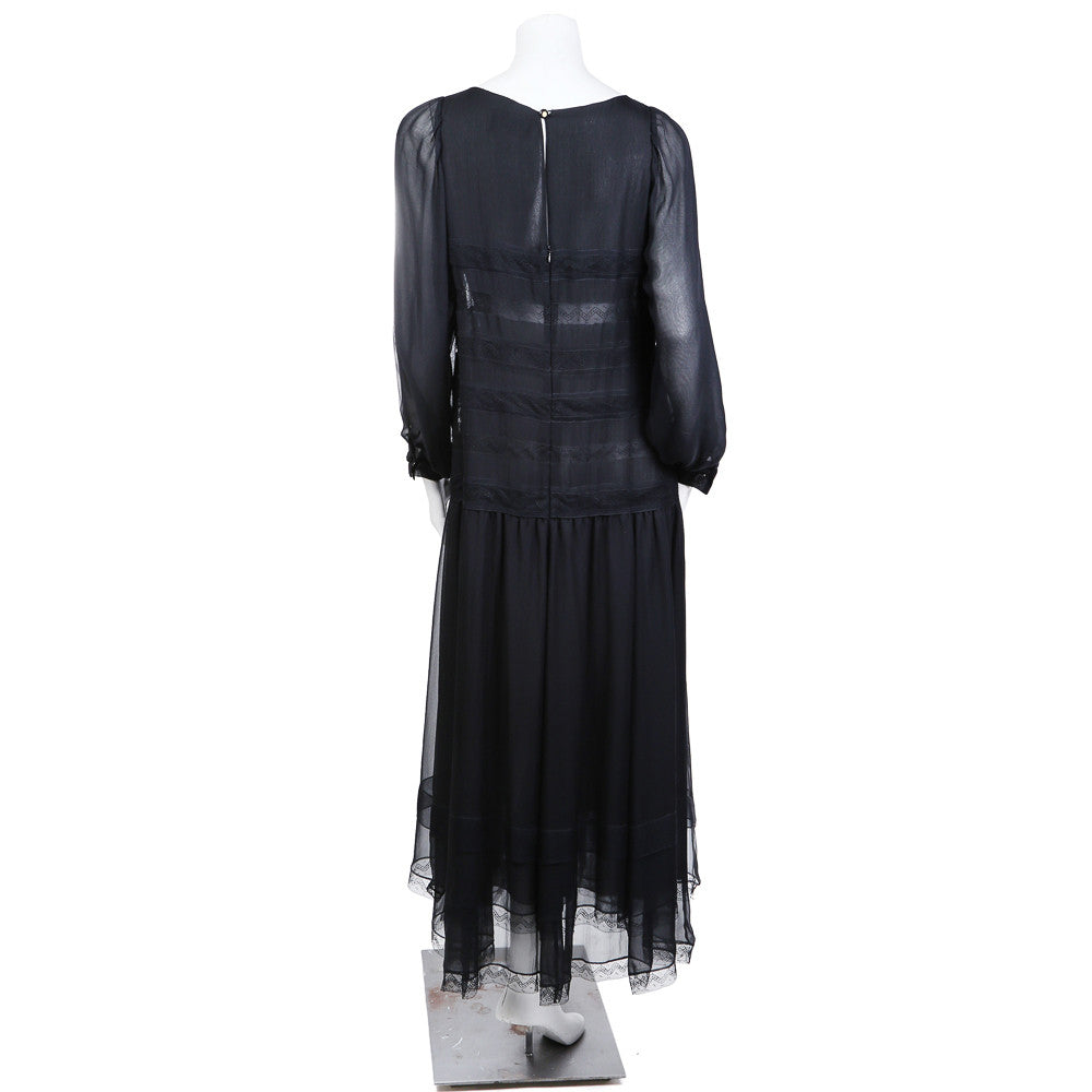 CHIFFON RUFFLE AND LACE DRESS CIRCA 1980s