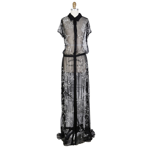 Sheer Silk Dress with Beading and Embroidery