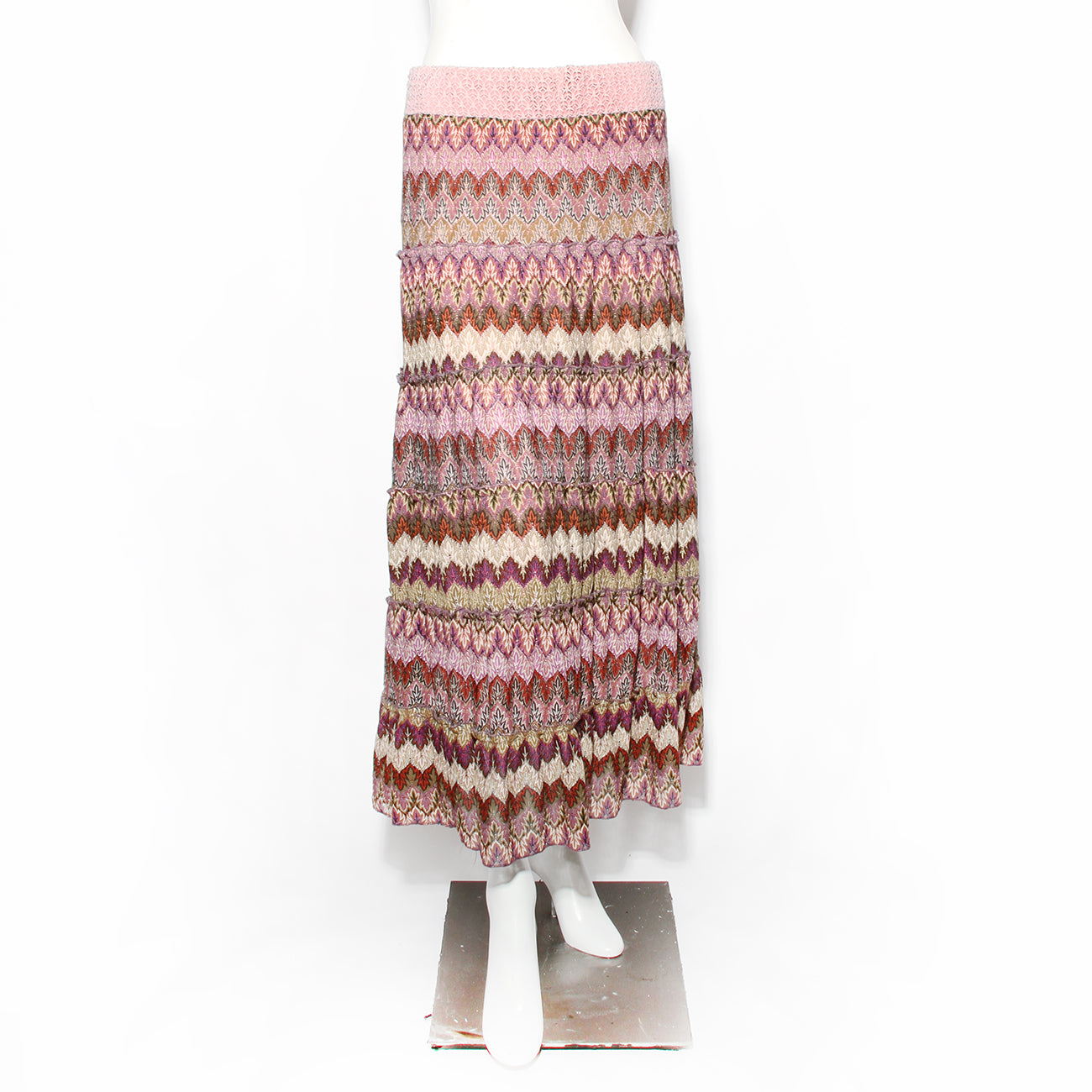 M Missoni Knit Multicolor Print Maxi Skirt
