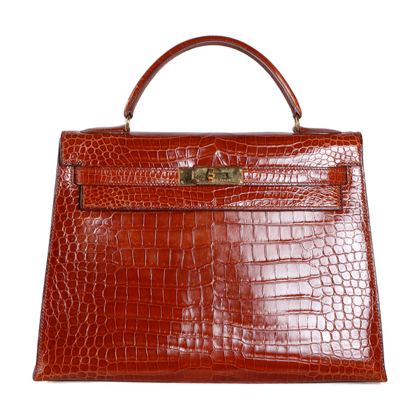 32cm Kelly, Gold Hardware Croc Porosus in Cognac, 1996