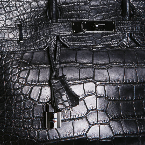 RARE 35cm Croc Birkin So Black, 2011