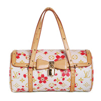 Monogram Leather Papillon Bag with Murakami Cherry Blossom Print
