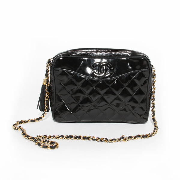 Chanel Black Quilted Patent Reporter Handbag