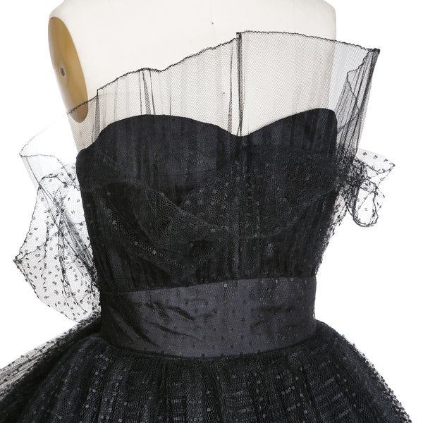 Vintage Couture Dress with Polka Dot Tulle, 1980s