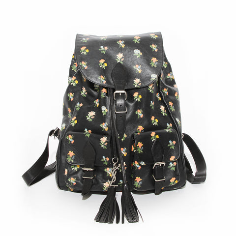 Saint Laurent Paris Black Leather Backpack with Floral Print