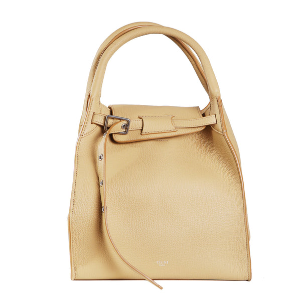 Beige Leather Crossbody Bucket Bag