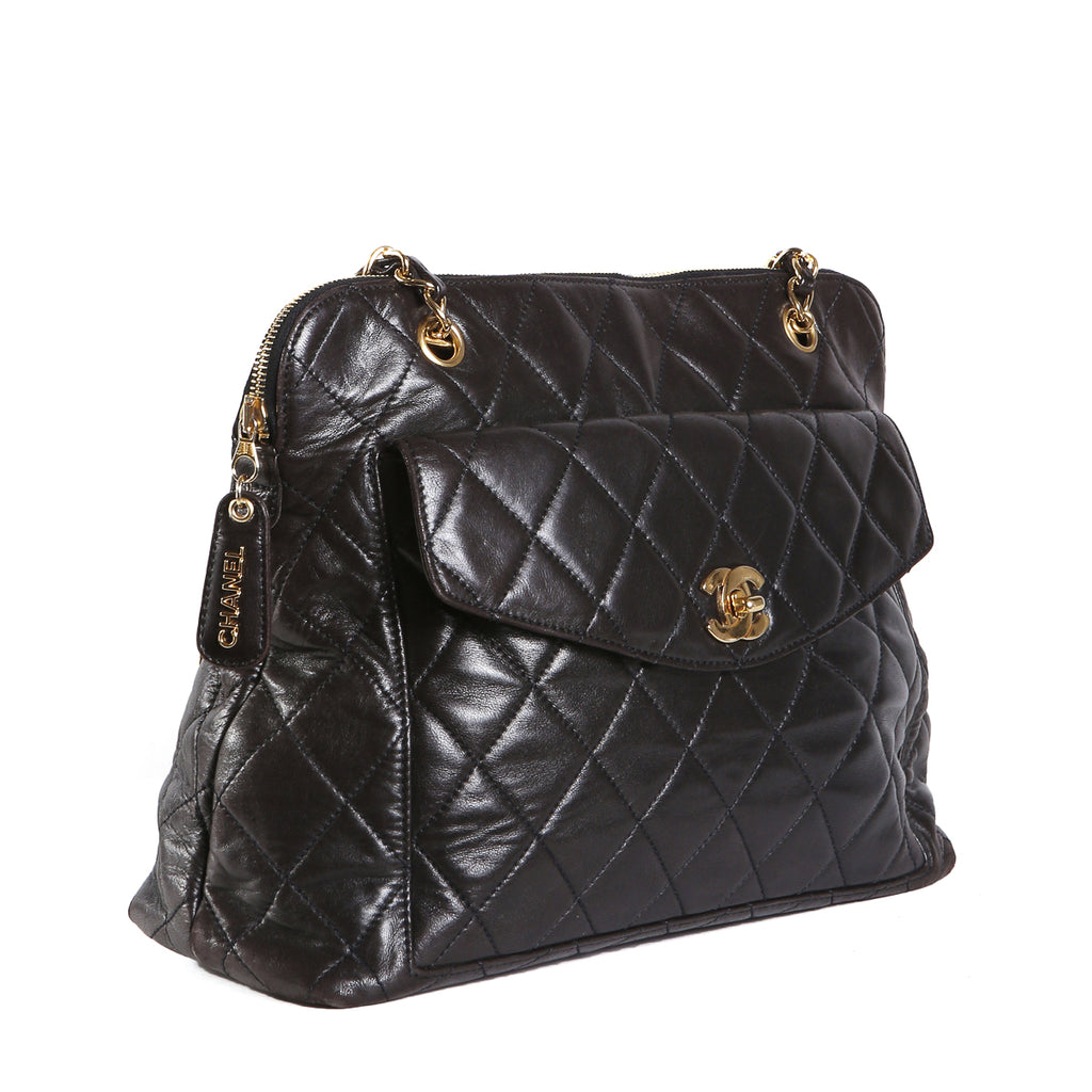 5b5ed1229bde Black Quilted Leather Shoulder Tote, 1996 – Decades Inc.