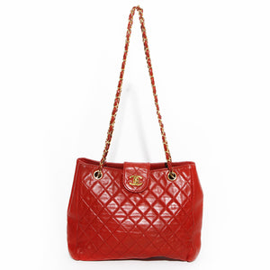 Chanel Red Quilted Chain Handbag