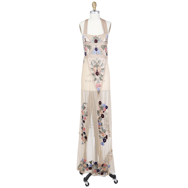 See Through Embroidered Dress with Tie