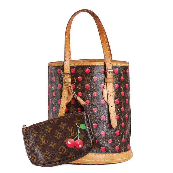 Takashi Murakami Cherry Print Bucket Tote with Matching Wallet
