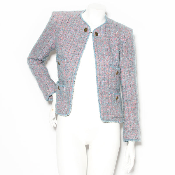Chanel Blue and Pink Four Pocket Tweed Jacket AW1997