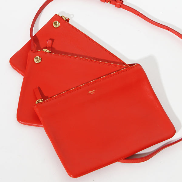 Celine Red Leather Crossbody Trio Bag
