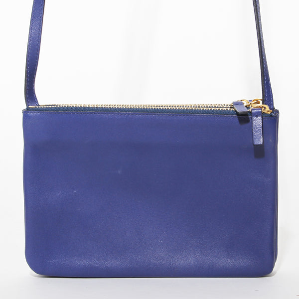 Celine Blue Leather Crossbody Trio Bag