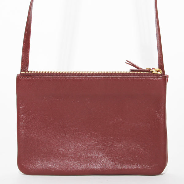 Celine Burgundy Leather Crossbody Trio Bag