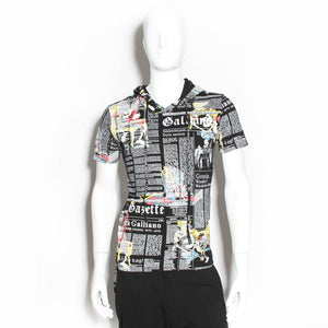John Galliano Newsprint Hooded T-Shirt
