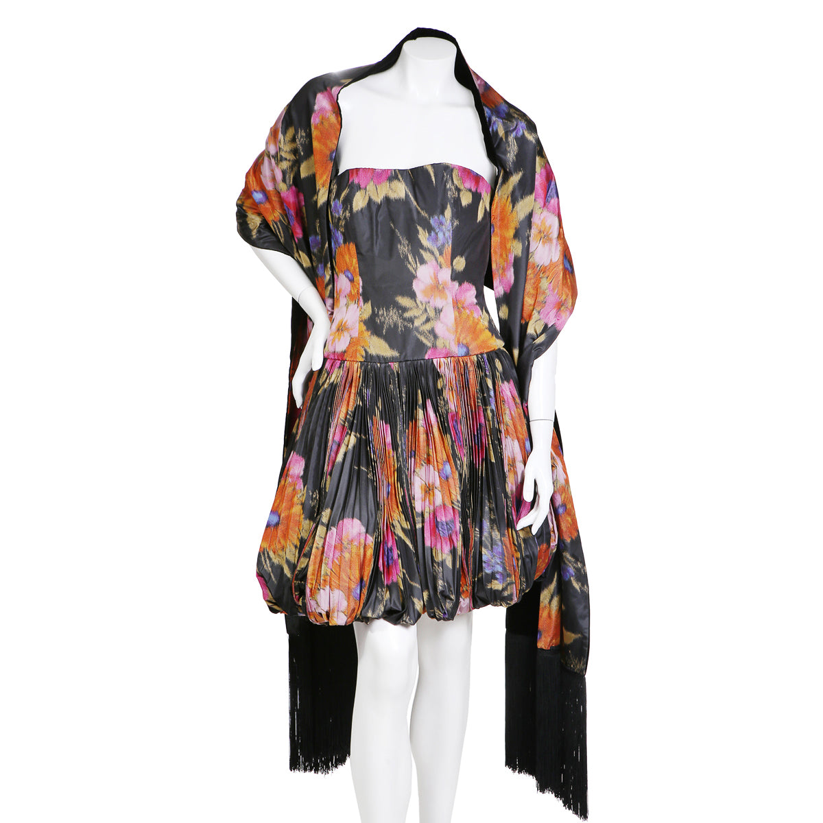 Vintage Floral Print Pleated Taffeta Dress with Shawl, 1990s
