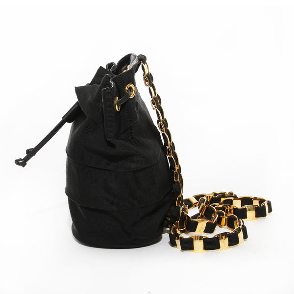 Salvatore Ferragamo Black Ribbon and Gold Chain Backpack