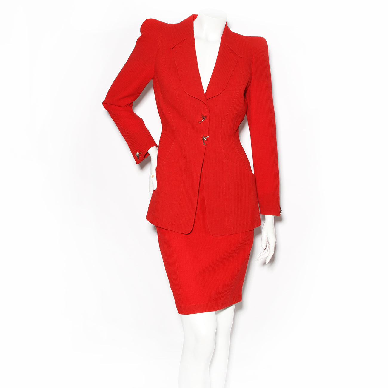 Thierry Mugler Red Skirt Suit with Silver Star Buttons