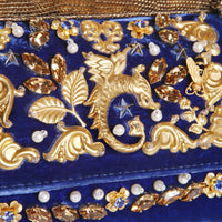 Sicily Blue Velvet Bag with Gold Metal Charms, Fall 2016