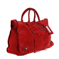 Large Red Suede Moto City Bag